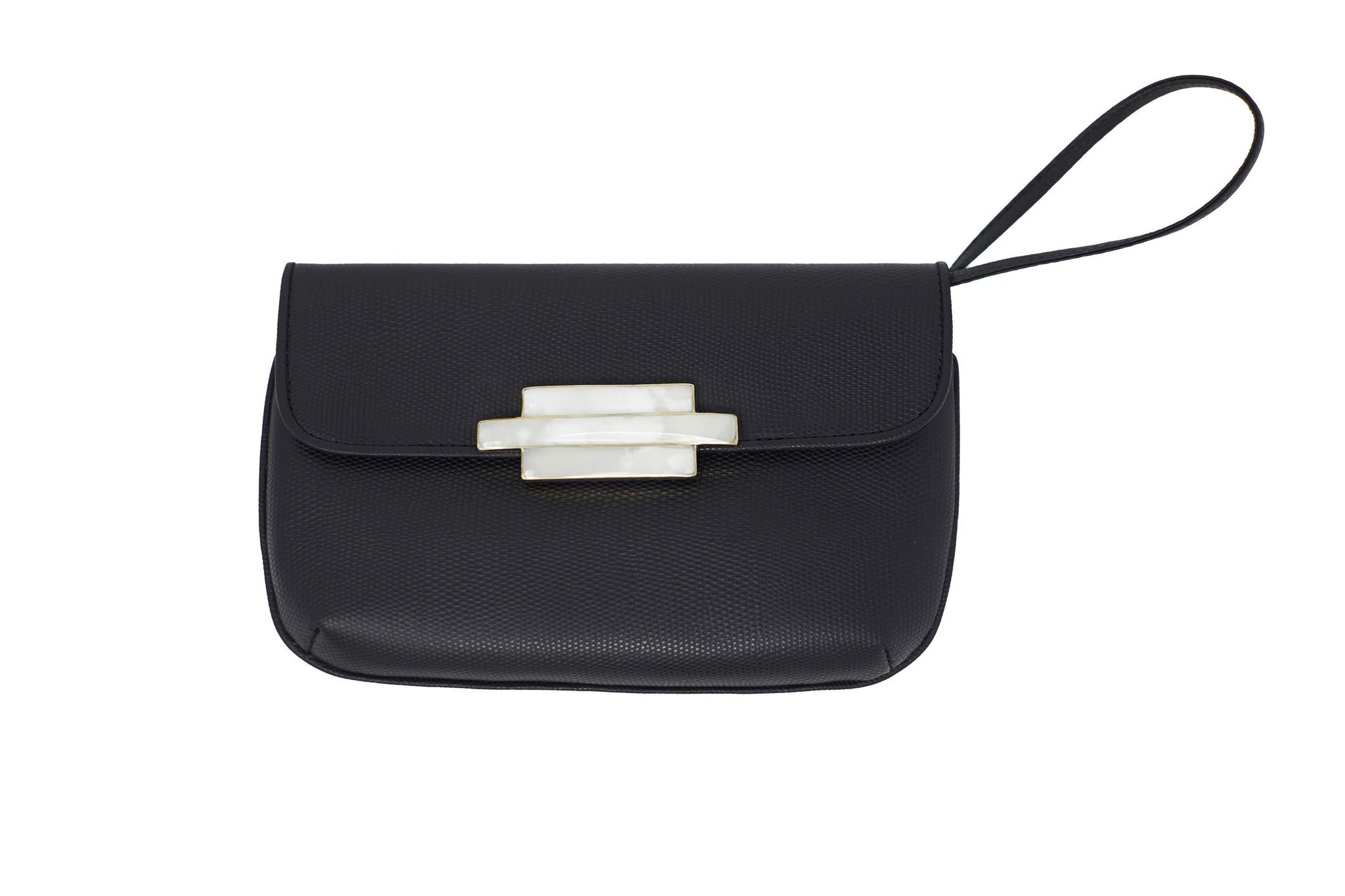 Black Nite Leather Clutch Wristlet