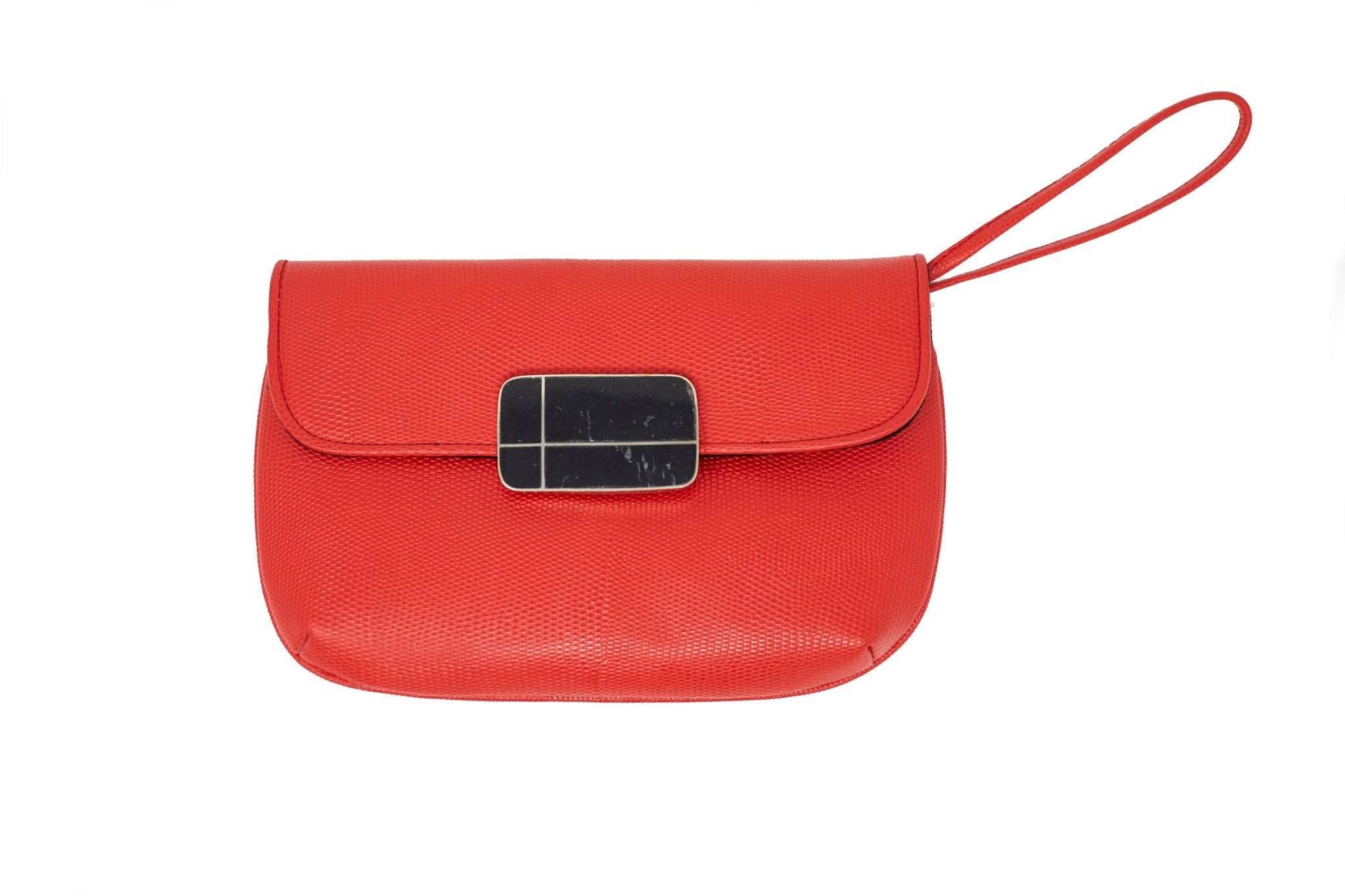 Red Nite Leather Clutch Wristlet