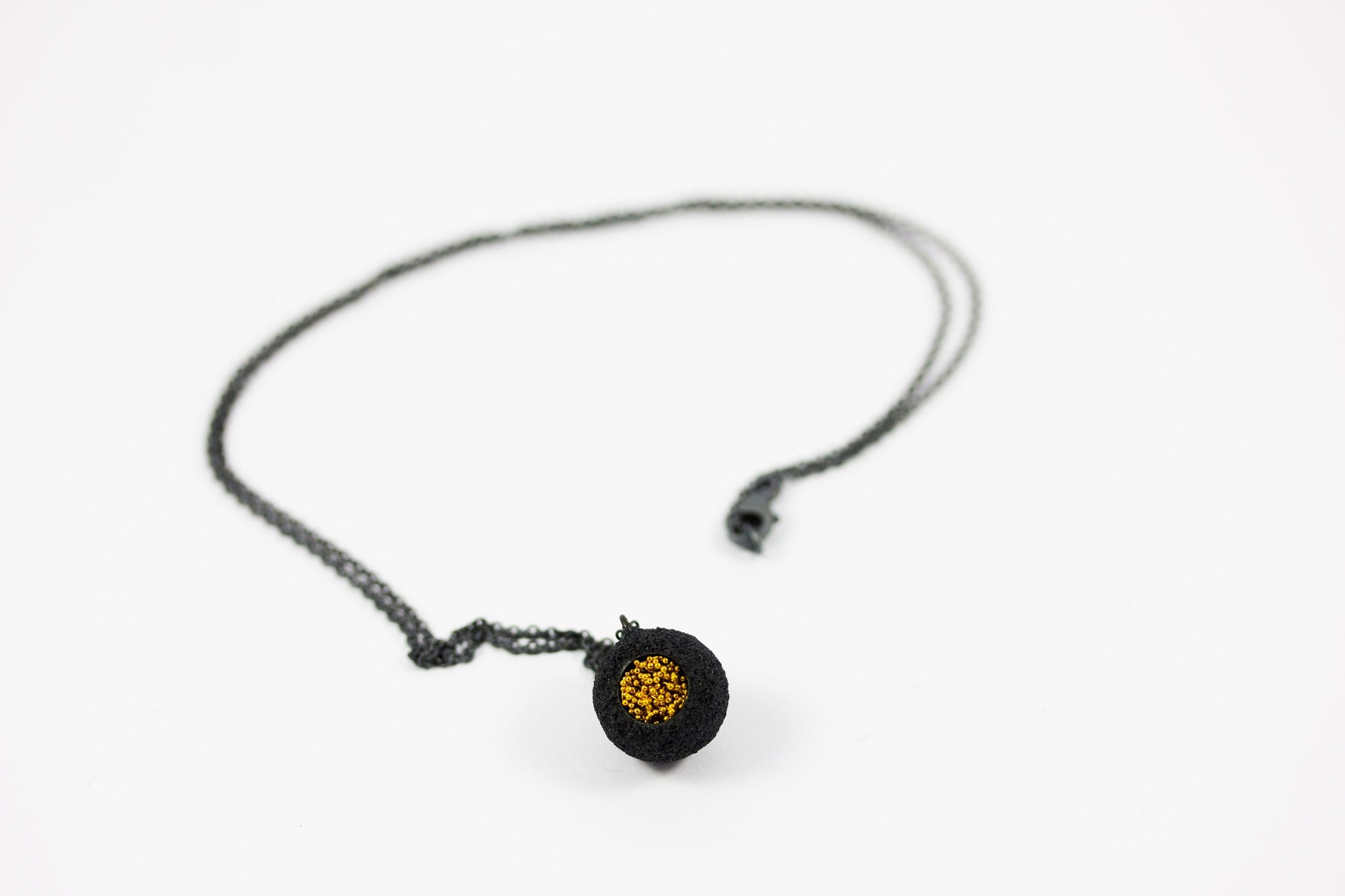 Oxidized Silver and Keum-Boo Gold Pendant - Lesetta