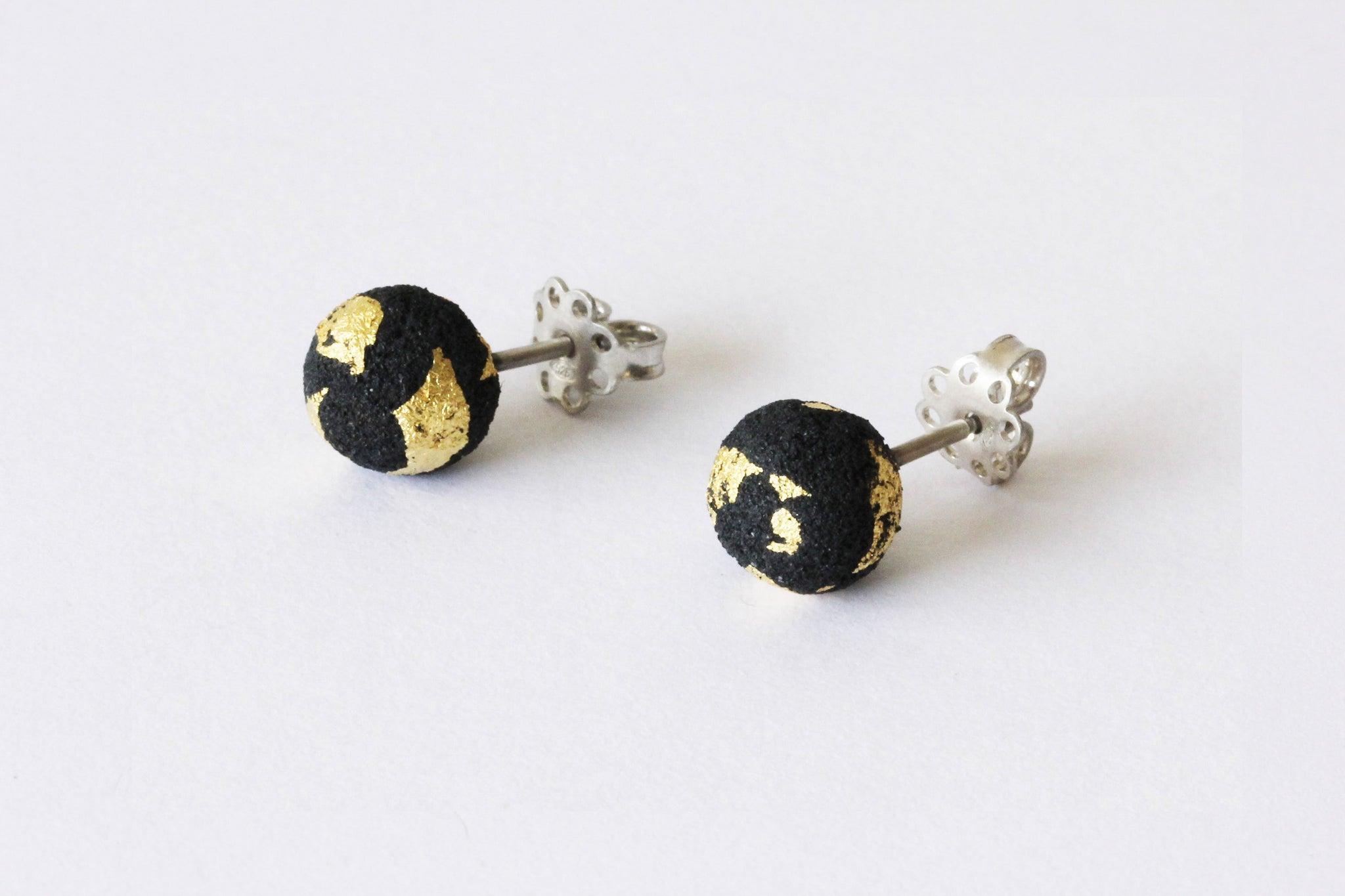 Oxidized Silver and Gold Foil Studs