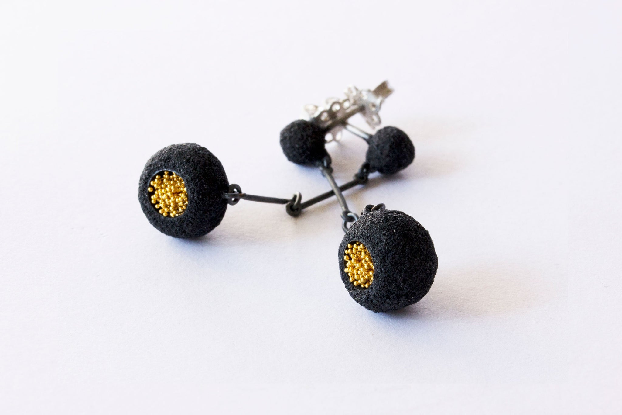 Oxidized Silver and Gold Keum-Boo Earrings - Lesetta