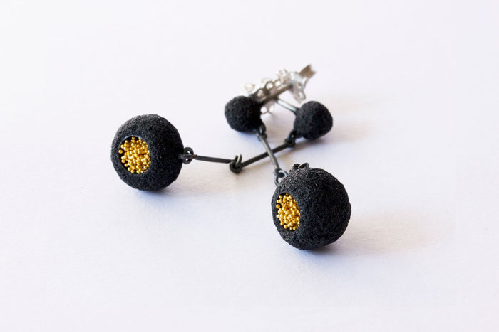 Oxidized Silver and Gold Keum-Boo Earrings