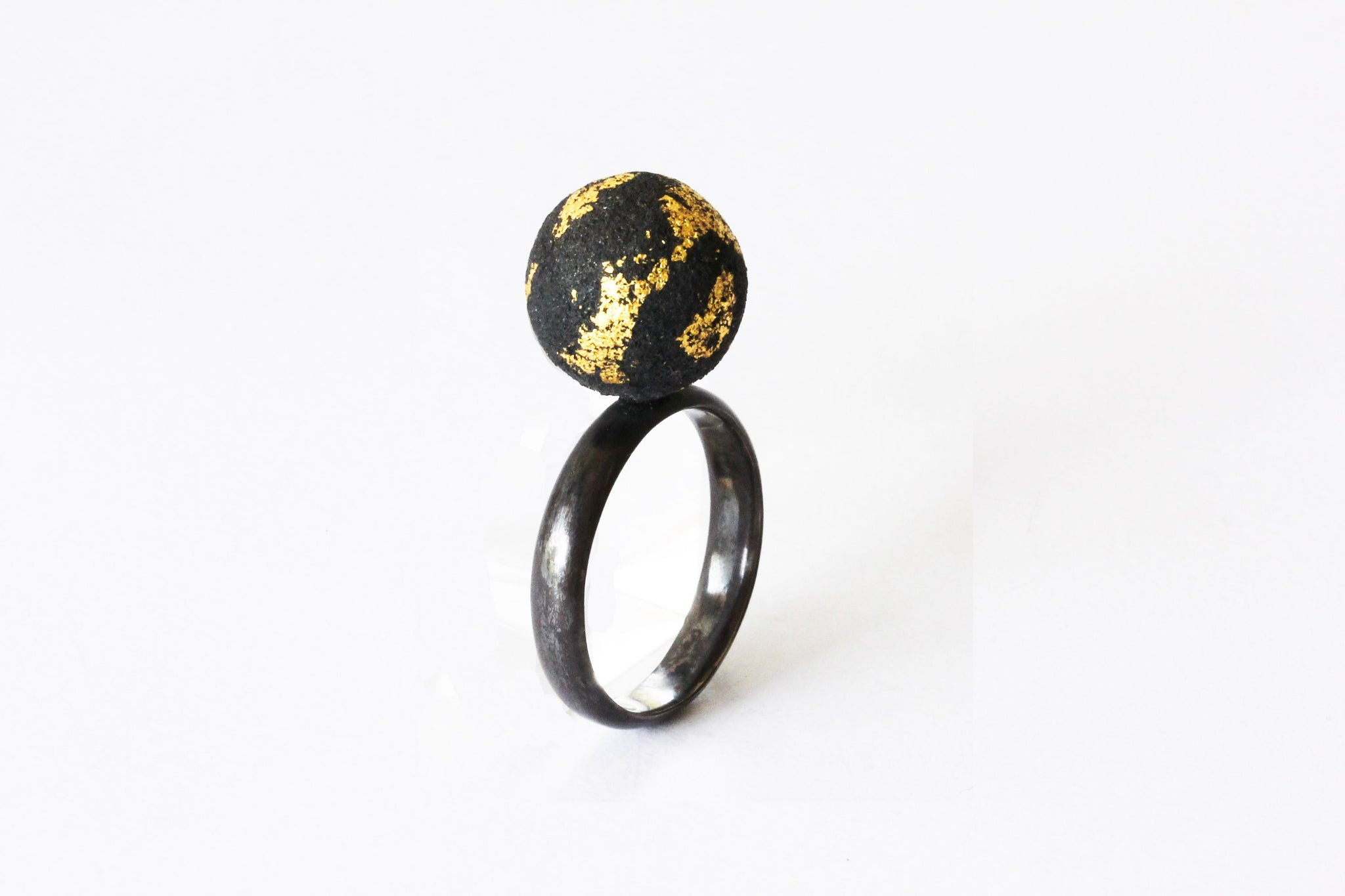 Oxidized Silver and Gold Foil Ring - Lesetta