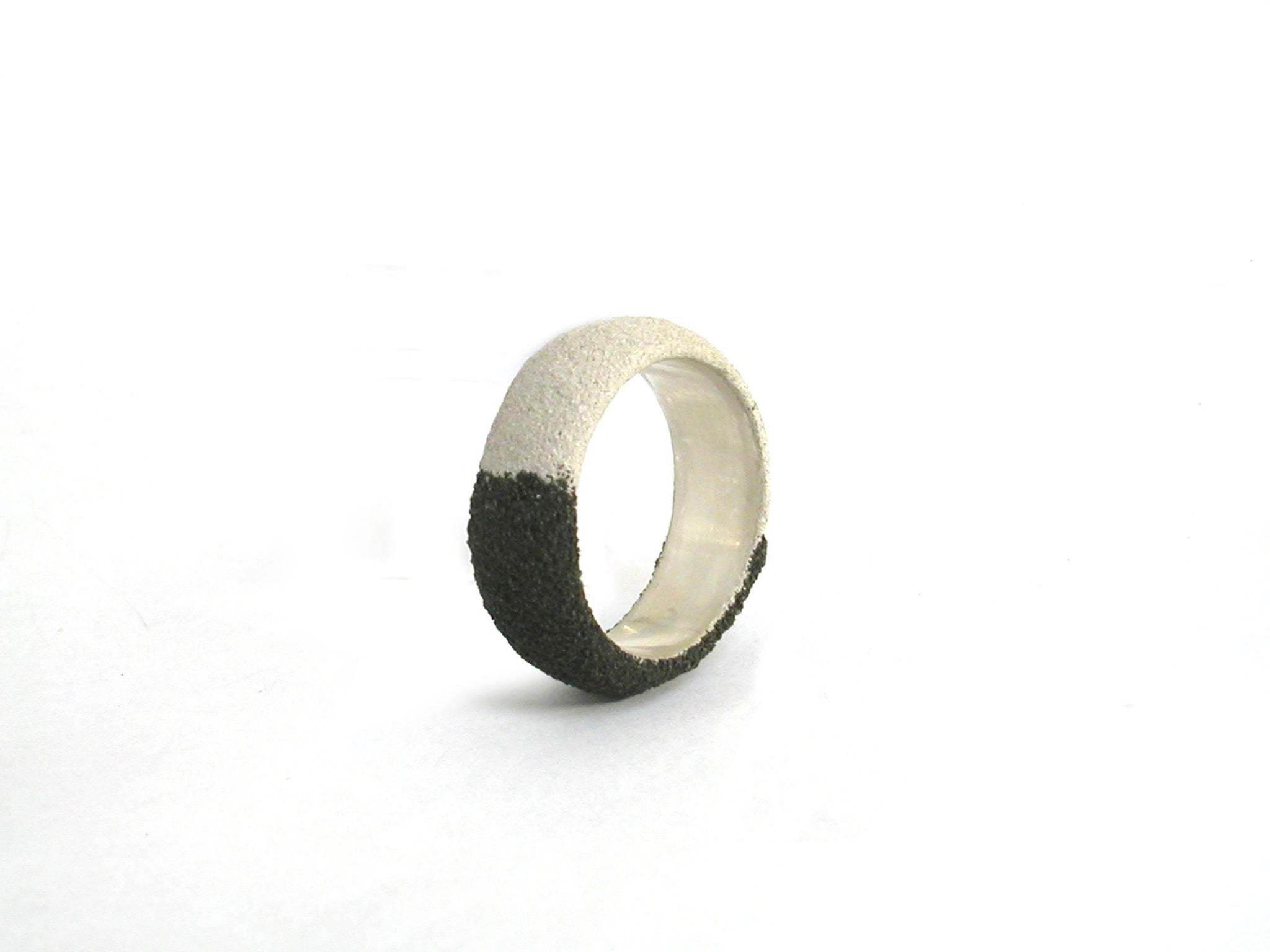 Silver and Oxidized Silver Band - Lesetta