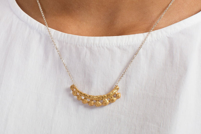 Casted Fabric Gold Plated Necklace