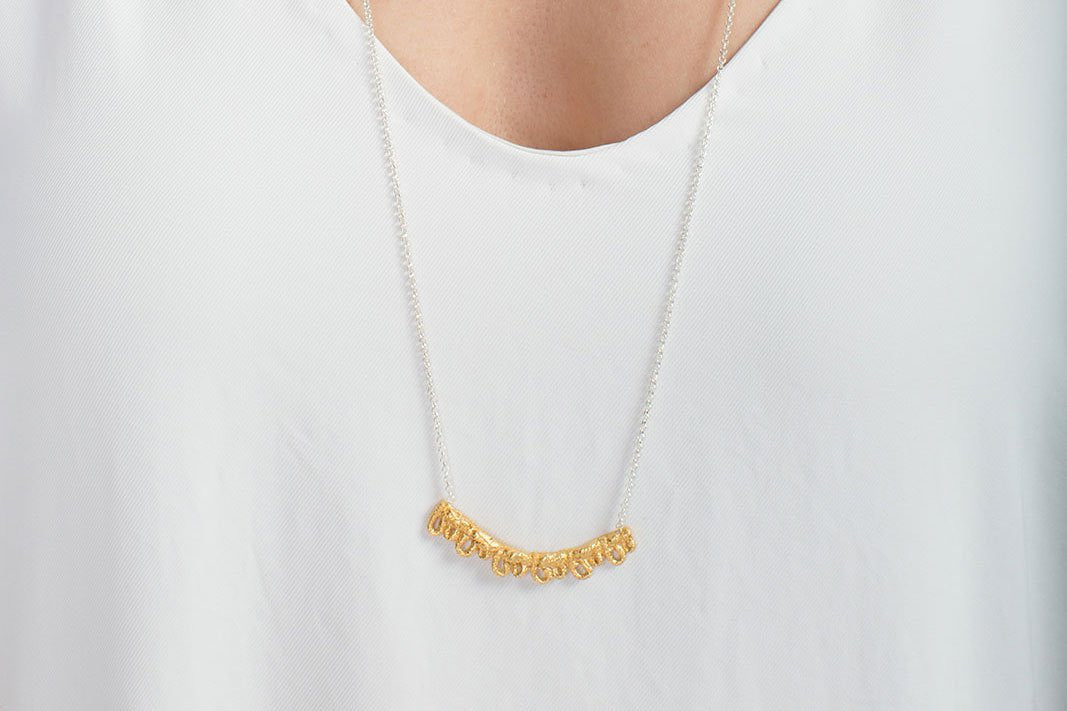 Casted Fabric Gold Plated Necklace - Lesetta