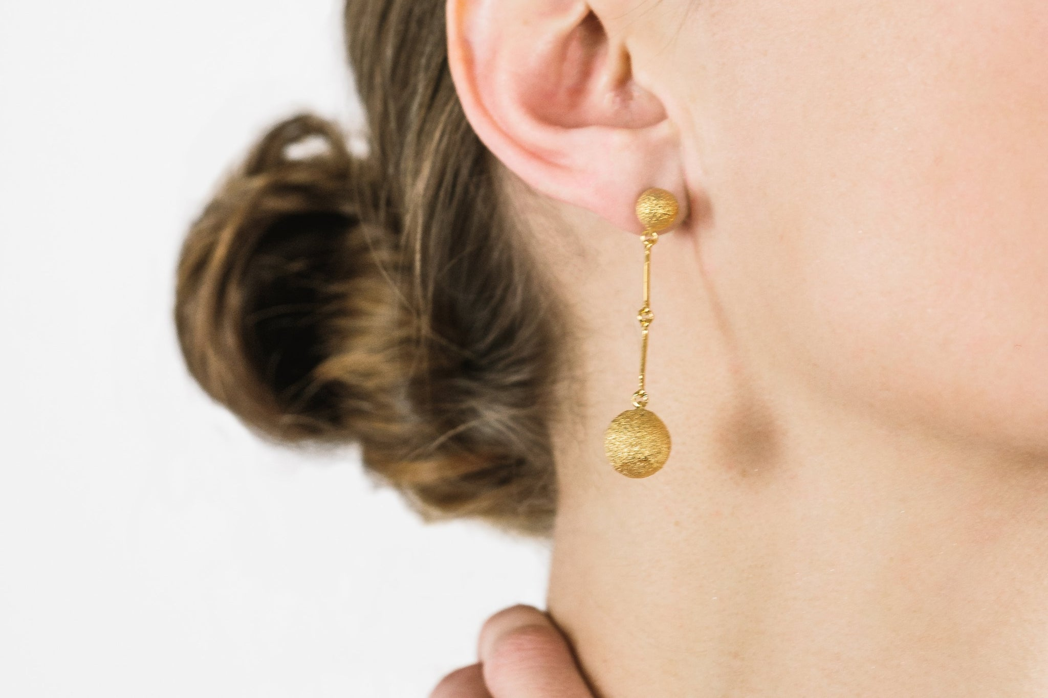 Gold Plated Silver Drop Earrings - Lesetta
