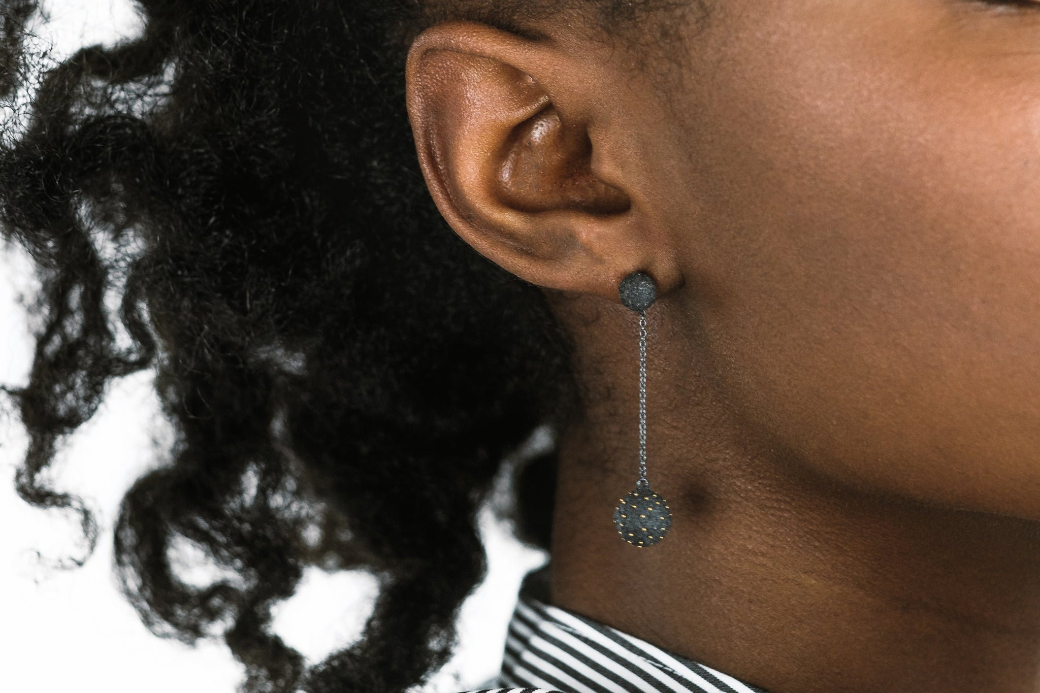 "Oxidized Silver and Gold ""Dot"" Earrings - Lesetta"