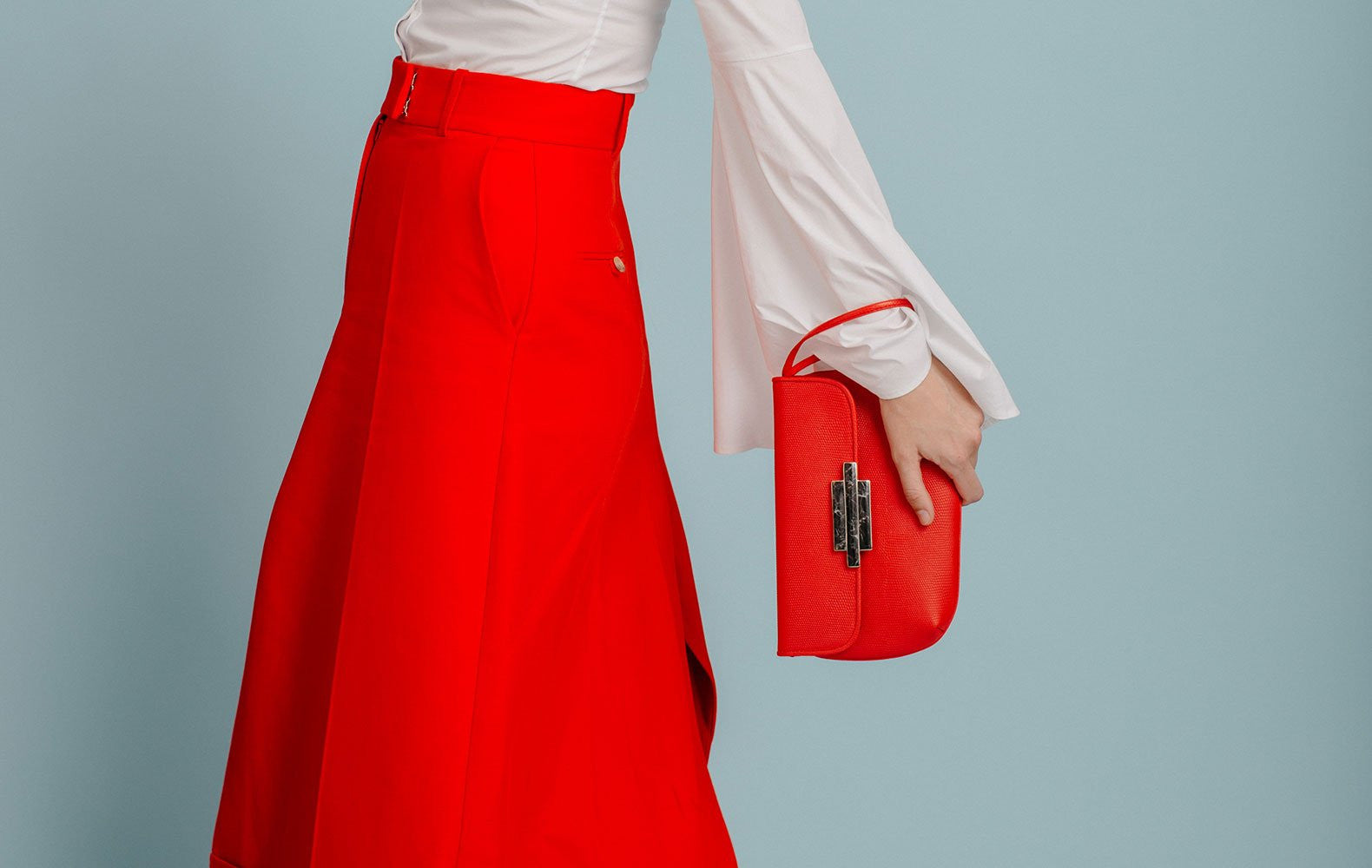 Red Nite Leather Clutch Wristlet - Lesetta