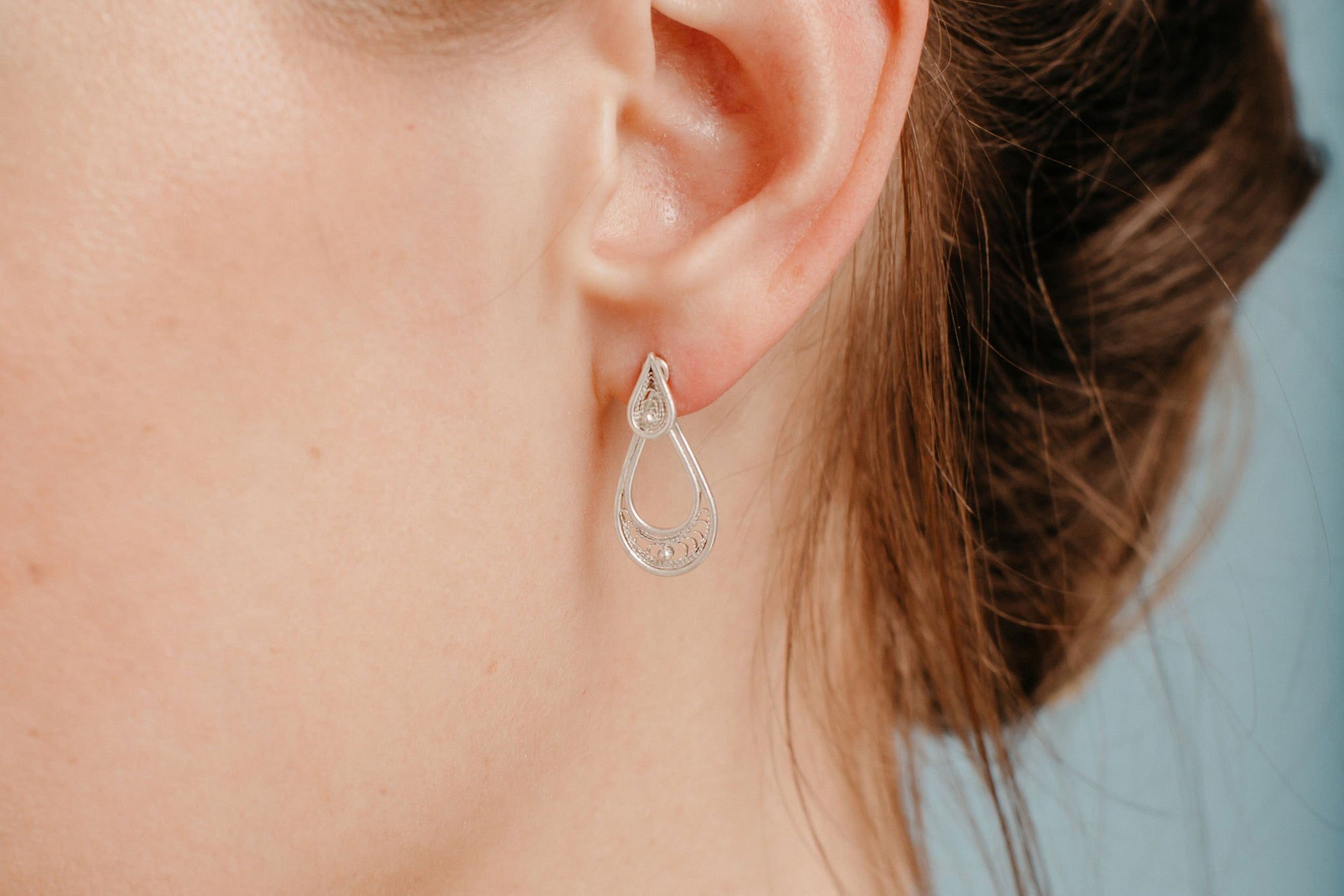 Silver Filigree Jacket Earrings - Teardrop