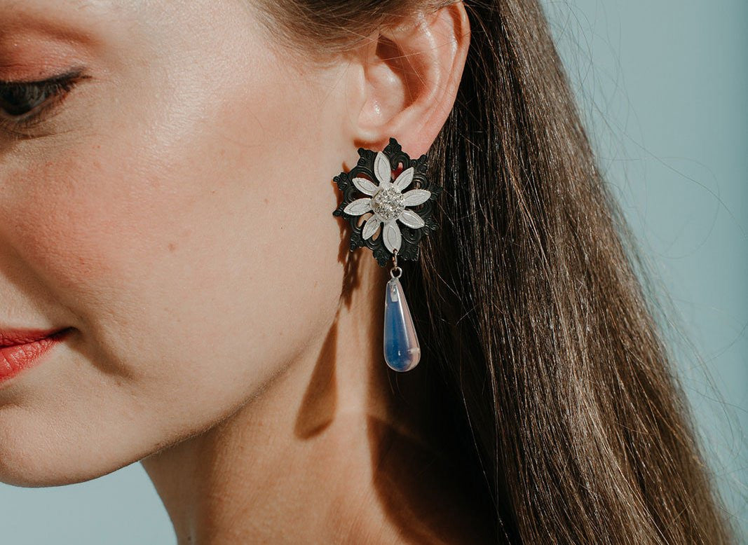 Flora Drop Moonstone Earrings - Lesetta