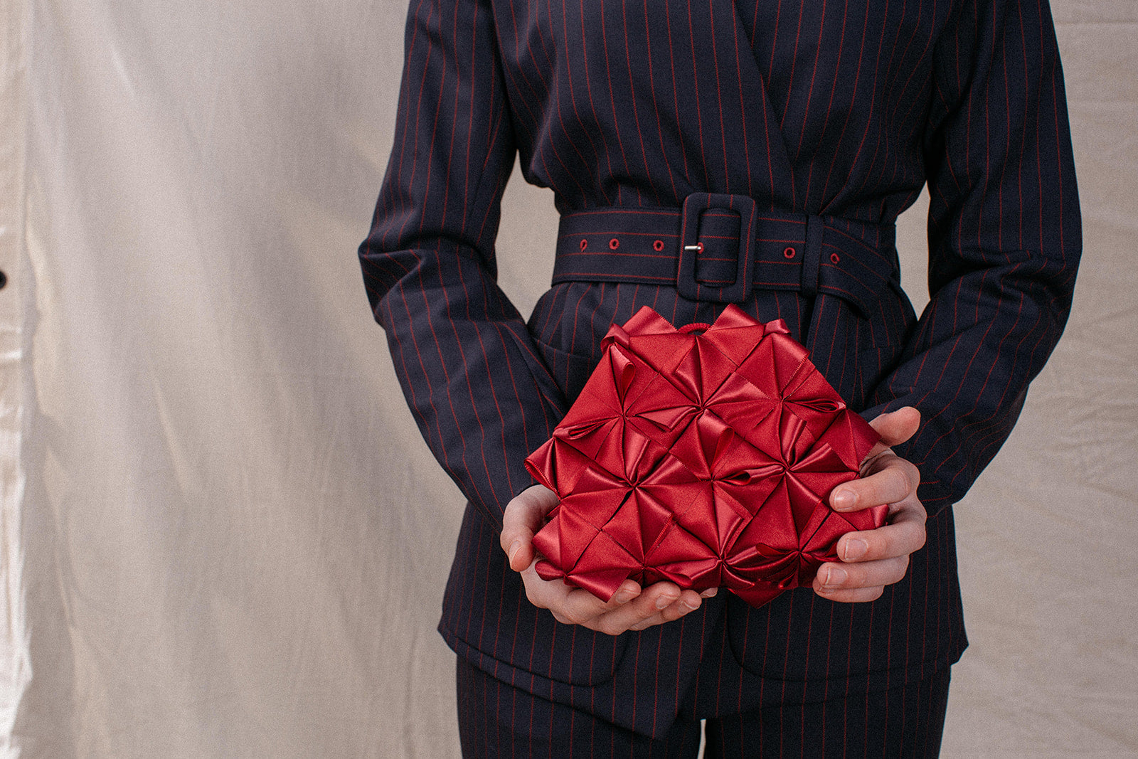 Squares Red Silk Bag