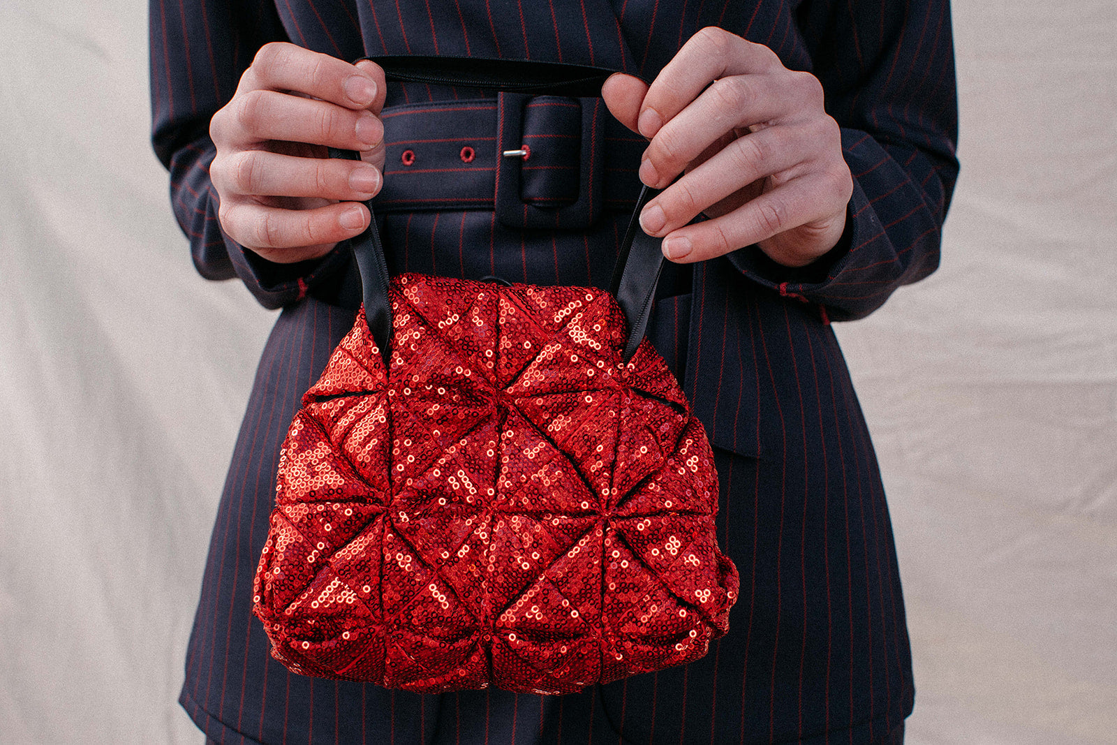 Squares Red Sequins Bag