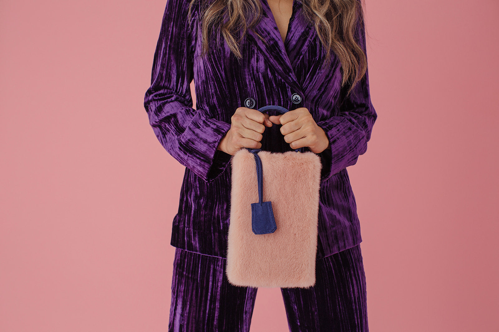 Her Blush Mink and Navy Handbag
