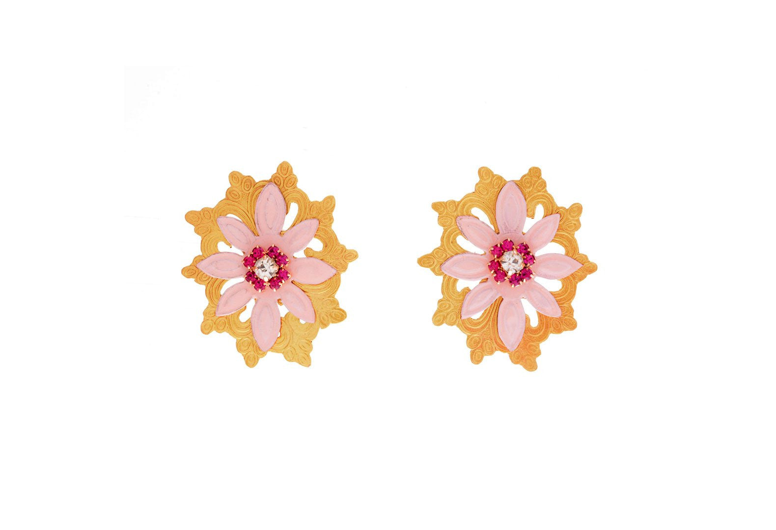 Pink Flora Earrings, Valentina Rosenthal Jewelry, Found By Lesetta