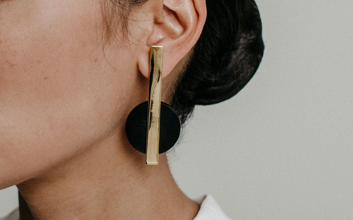 Black Horn and Brass Earrings