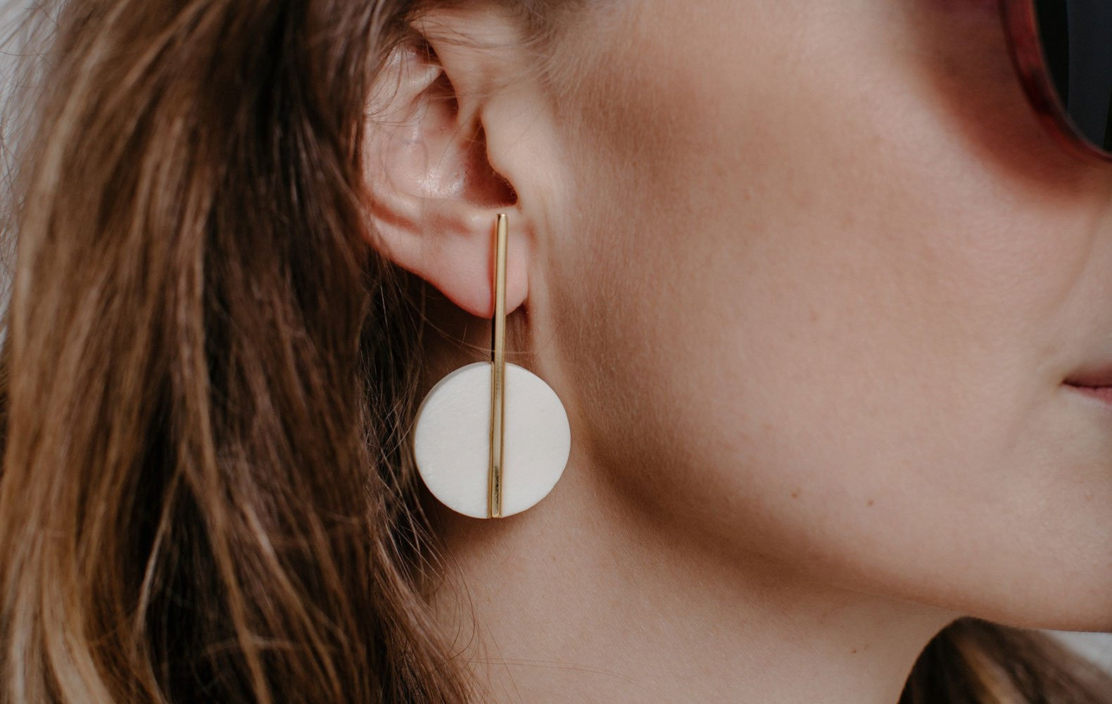 White Horn and Brass Earrings - Lesetta