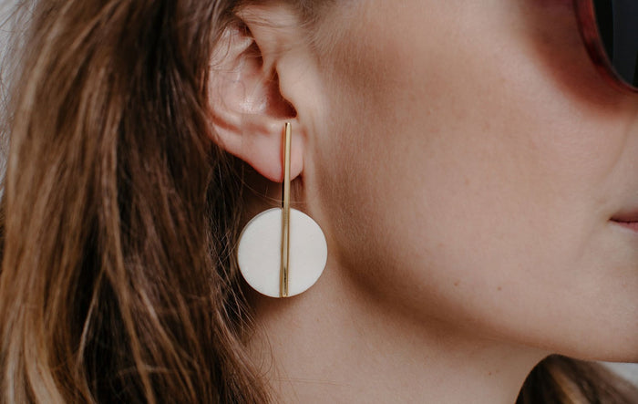 White Horn and Brass Earrings