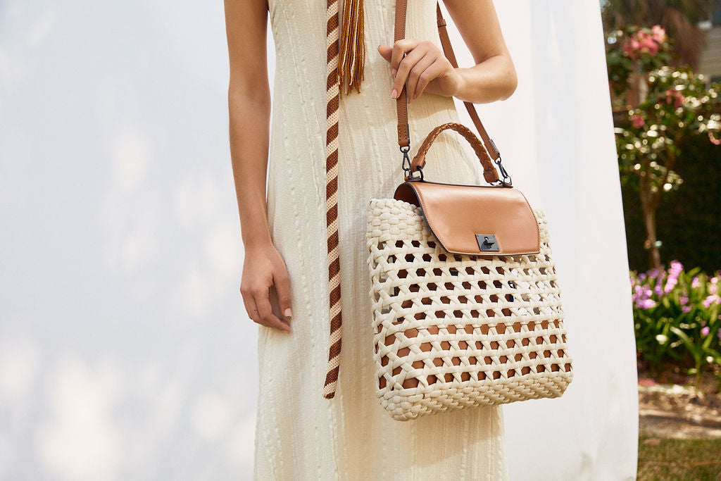 Woven Linen and Leather Bag