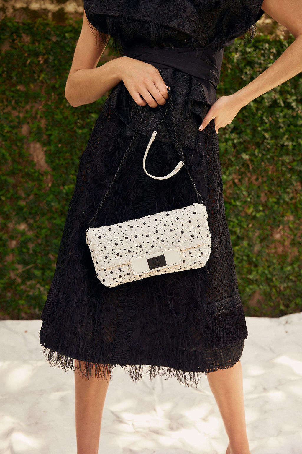 White Embellished Shoulder Bag