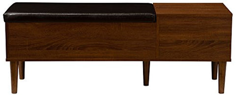 Baxton Furniture Studios Merrick Mid-Century Retro Modern 1 Drawer and Wood Cushioned Bench Shoe Rack Cabinet Organizer, Dark Brown