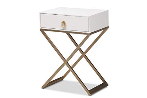 Baxton Studio Nightstands, White/Brass/Gold
