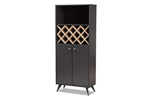 Baxton Studio Wine Cabinets, Dark Gray