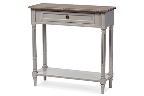 Baxton Furniture Studios Edouard French Provincial Style Distressed Two Tone 1 Drawer Console Table, White Wash