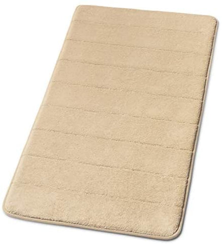 Simple Deluxe Beige Bath or Kitchen Mat, Memory Foam Rug, Non Slip Backing, Washable, Absorbent 19.5x36 Beige