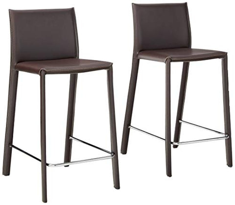 Baxton Studio 35-1/2-Inch-Tall Leather Counter Stool, Set of 2, Espresso Brown
