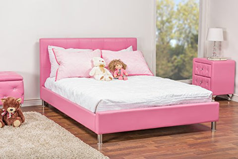 Baxton Studio Barbara Leather Modern Size Bed with Crystal Button Tufting, Pink