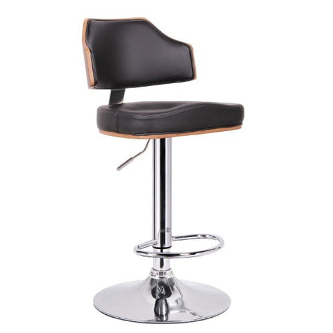 Baxton Studio Cabell Walnut and Black Modern Bar Stool, 17L x 17.5W x 35H