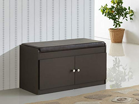 Baxton Studio Margaret Modern & Contemporary Wood 2-Door Shoe Cabinet with Faux Leather Seating Bench, Dark Brown