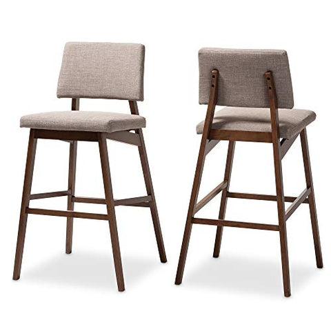 Baxton Studio Bar Stools, Light Gray/Walnut