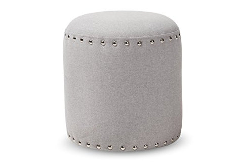 Baxton Studio Emilie Fabric Upholstered Nail Trim Ottoman, Light Grey