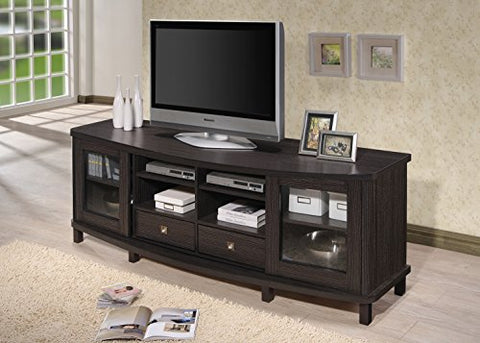 "Baxton Studio Wholesale Interiors Walda Wood TV Cabinet with 2 Sliding Doors and 2 Drawers, 70"", Dark Brown"