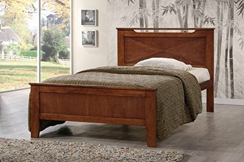 Baxton Studio Demitasse Brown Wood Contemporary Bed, Twin