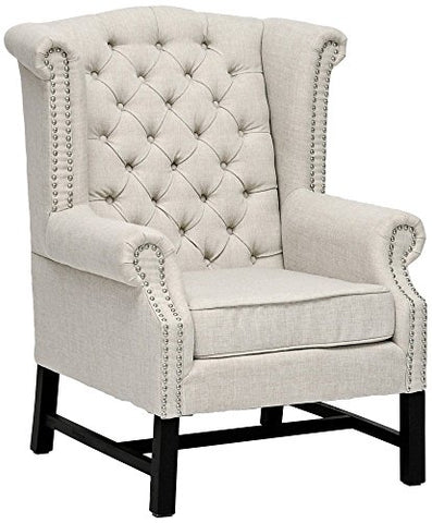 Baxton Studio Sussex Tufted Gray Linen Club Chair, Set of 2