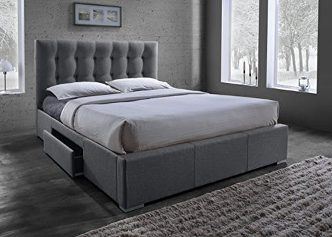Baxton Studio Sarter Contemporary Grid-Tufted Fabric Upholstered Storage Bed with 2 Drawers, King, Grey