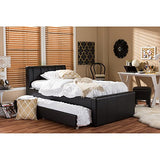 Baxton Studio Cosmo Modern and Contemporary Faux Leather Trundle Bed, Twin, Black