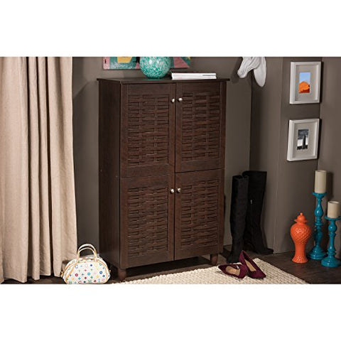 Baxton Studio Wholesale Interiors Winda Modern and Contemporary 4-Door Dark Brown Wooden Entryway Shoes Storage Cabinet