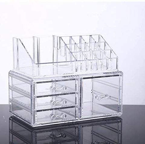 Unique Home Acrylic Jewelry and Cosmetic Storage Makeup Organizer, 4 Drawer Set