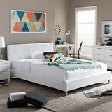 Baxton Studio Barbara White Modern Bed with Crystal Button Tufting, Queen