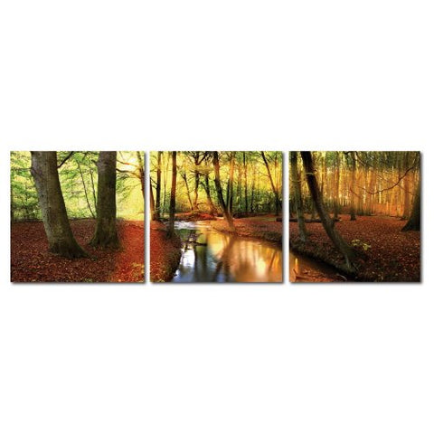 Baxton Studio DE-3054ABC Painting Artwork, 20L x 1W x 20H, Forest Oasis