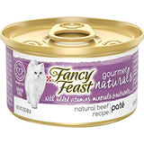 Fancy Feast Gourmet Naturals Purina Grain Free Pate Tender Beef Recipe Adult Wet Cat Food -(12cans -3 oz.)