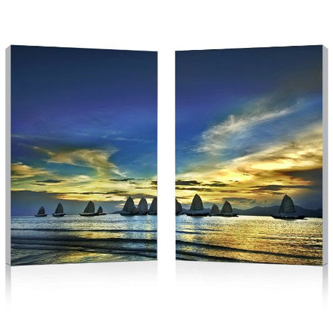 Baxton Studio FG-1074AB Painting Artwork, 15.75L x 1W x 23.62H, Sunset Sails