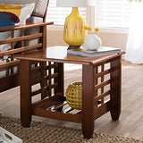 Baxton Studio Lamon Modern Classic Mission Style Cherry Finished Wood Living Room Occasional End Table