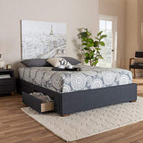 Baxton Studio Bed Frame, King, Gray