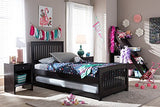 Baxton Studio Nadeen Dark Brown Solid Wood Platform Bed with Guest Trundle Bed, Twin