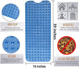 "Simple Deluxe Anti-Bacterial Anti-Slip-Resistant Bath Mat, 16"" W x 39"" L, Extra Long, Blue"